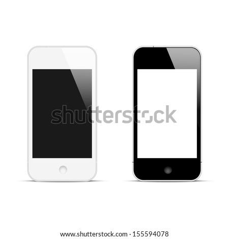 Modern smartphones with blank screen. Vector illustration - stock vector