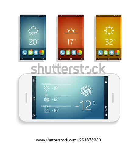 Modern smartphones with different application screens. Smartphone application design elements  - stock vector
