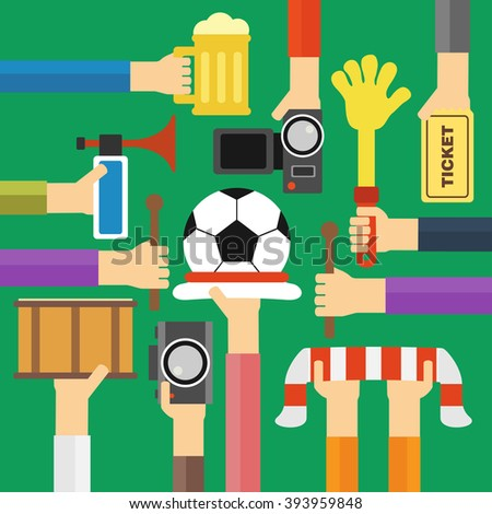Modern soccer fan flat design.Vector illustration - stock vector