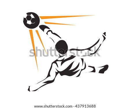Modern Soccer Player In Action Logo - Extreme Bicycle Kick Attack