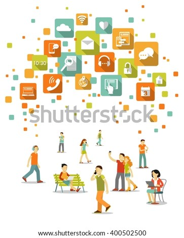 Modern social communication technology concept. Young people, man and woman using modern mobile smart phone, computer, tablet pc, laptop and apps icons  - stock vector