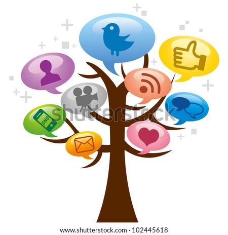 Modern social media abstract and tree - stock vector
