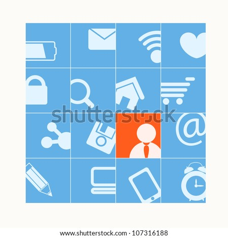 Modern social media buttons. One of them is selected - stock vector