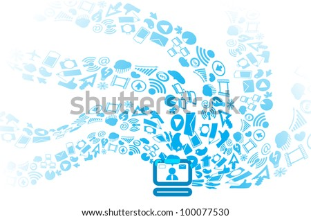 Modern social media icons flows to computer - stock vector