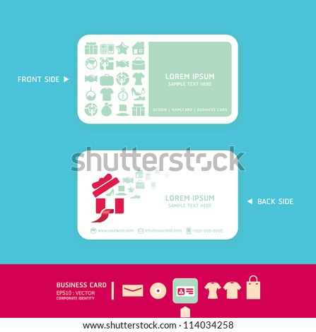 Modern soft color  Card design with shopping icons  / corporate identity design for business set / vector illustration - stock vector
