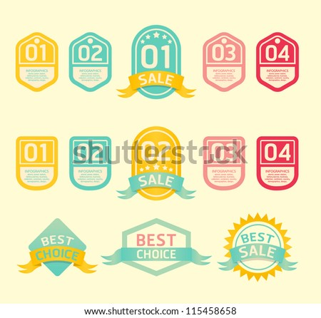 Modern soft color  Design label  / can be used for infographics / numbered banners / horizontal cutout lines / graphic or website layout vector - stock vector
