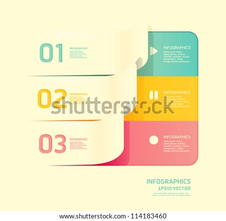 Modern soft color Design template  / can be used for infographics / numbered banners / horizontal cutout lines / graphic or website layout vector - stock vector