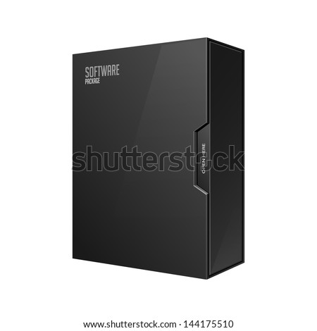 Modern Software Package Box Black With DVD Or CD Disk EPS10 - stock vector