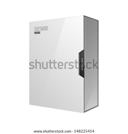 Modern Software Package Box White With DVD Or CD Disk EPS10  - stock vector