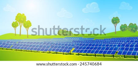 Modern solar panels on summer field. EPS 10 format. - stock vector