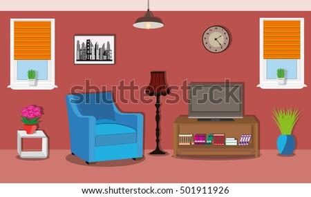 Modern Spacious Room Bright Furniture Windows Stock Vector 501911926 ...