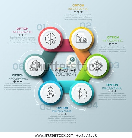 Modern spiral infographics options banner for 6 steps. Vector illustration. can be used for workflow layout, diagram, number options, web design. - stock vector
