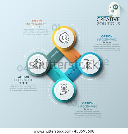 Modern spiral infographics options banner for 4 steps. Vector illustration. can be used for workflow layout, diagram, number options, web design. - stock vector