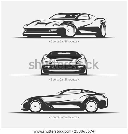 Modern sports car set. Vector illustration - stock vector