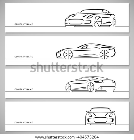 Modern sports car vector silhouettes, outlines, contours, lines isolated on white background. Front, rear and side view. - stock vector