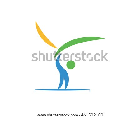 Modern Sports Logo Symbol - Horizontal Bars Gymnastic