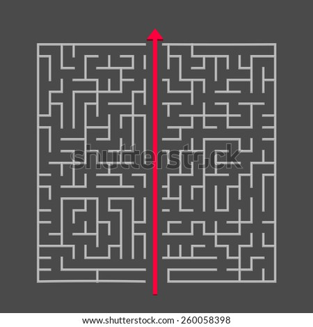 modern square maze isolated on dark background - stock vector