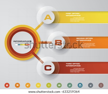 Modern 3 steps process. Simple&Editable abstract design element. EPS10.