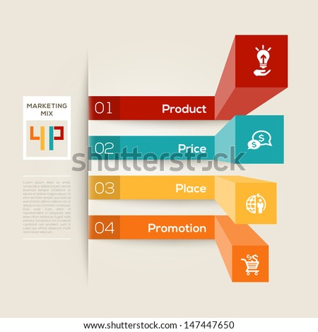 Modern style graph layout with 4 P Marketing Mix Business concept - stock vector