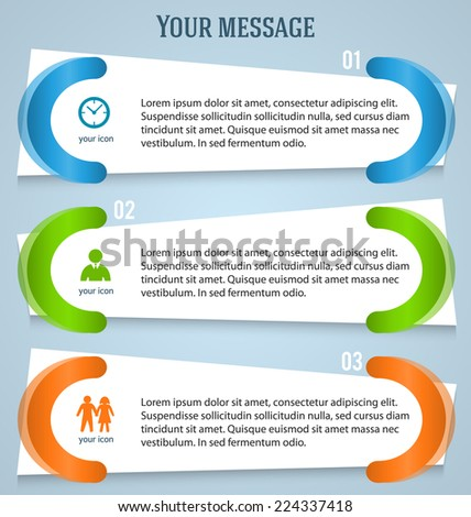 Modern style infographics designs elements horizontal banner on grey background. Abstract shape. Vector illustration eps 10 for info graphic, web presentation, booklet page template - stock vector