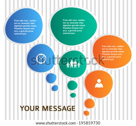 Modern style infographics designs elements with communication bubbles and vertical lines on grey background. Abstract shape. Vector illustration eps 10 for info graphic, loop business report or plan - stock vector