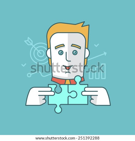 Modern style linear illustration of a man building a strategy, aiming and setting goals, creatively solving a problem. Business and productivity concept - stock vector