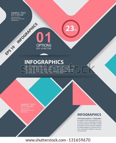Modern style, options banner. Web design, infographics. Number options. Pink - stock vector