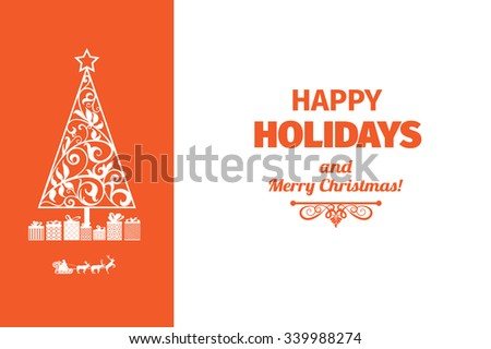 Modern style red and white color scheme happy holidays card with merry christmas greeting on white background . Flat contrast bright design element. Bright mood.Contrast eye catching colors