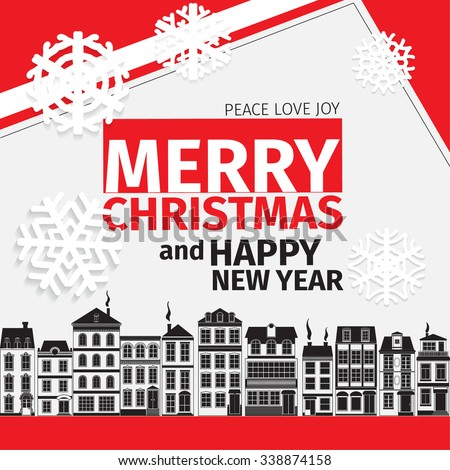 Modern style red  black white color scheme christmas card and happy new year wish on white background. Flat design element. Modern stylish mockup. Bright mood. Old european black houses - stock vector
