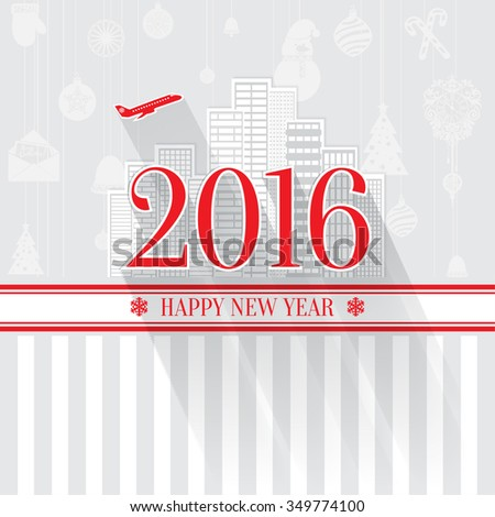 Modern style red gray color scheme new year greetings card on light-gray background with gray elements, houses, apartments and city landscape. Flat design element. Bright mood. 2016 new year greetings