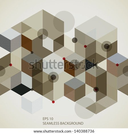 Modern style seamless pattern with horizontal elements, 3d geometric vector background.