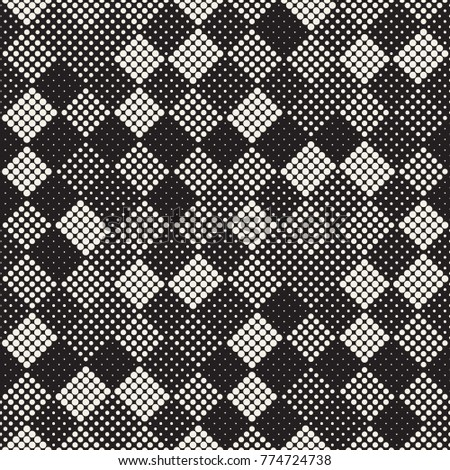 Modern Stylish Halftone Texture. Endless Abstract Background With Random Size Circles. Vector Seamless Mosaic Pattern.