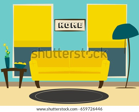 Modern Stylish Living Room Flat Design Stock Vector 659726446 ...