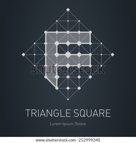 Modern stylish low poly logo with letter F. Low-poly Design element with squares, triangles and rhombus. Vector Lowpoly logotype template. - stock vector