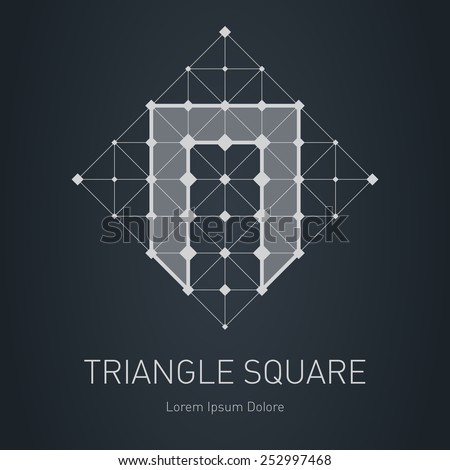 Modern stylish low poly logo with letter N. Low-poly Design element with squares, triangles and rhombus. Vector Lowpoly logotype template. - stock vector