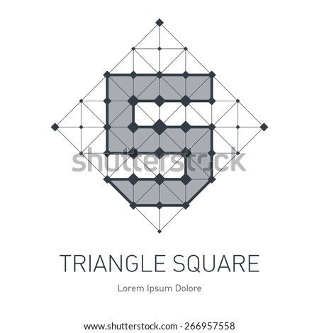 Modern stylish low poly logo with letter S or number five. Low-poly Design element with squares, triangles and rhombus. Vector Lowpoly logotype template on white background. - stock vector