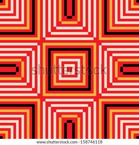 modern stylish seamless pattern in red, white, yellow and black colours. repeating geometric tiles. vector illustration background. - stock vector