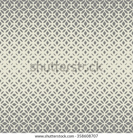 Modern stylish texture with flowers. Vector seamless pattern. Repeating geometric tiles. Gray and white texture.
