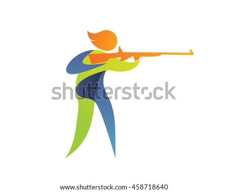 Modern Summer Sports Logo Symbol - Shooting Athlete Silhouette