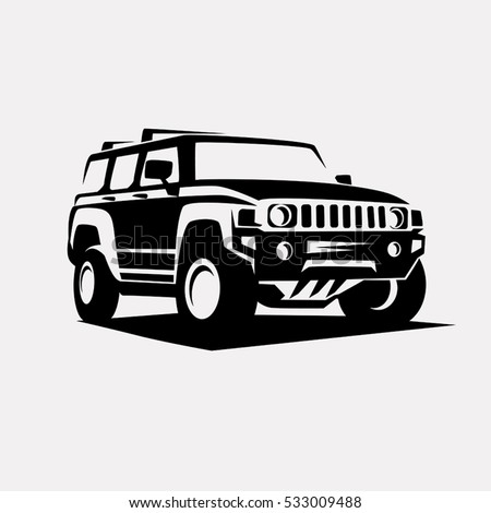 Offroad Suv Car Monochrome Template Labels Stock Vector