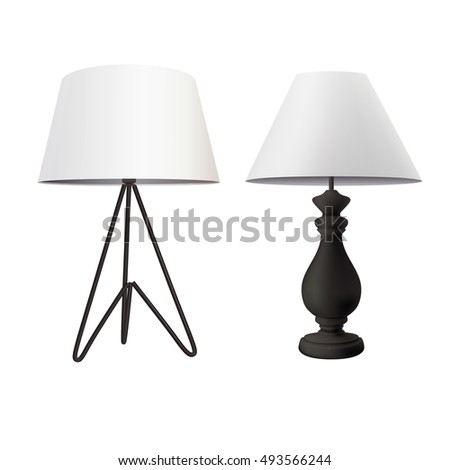 Modern Table Lamp With White Tapered Lampshade On Black Tripod Base And  Classic Bedside Lamp With