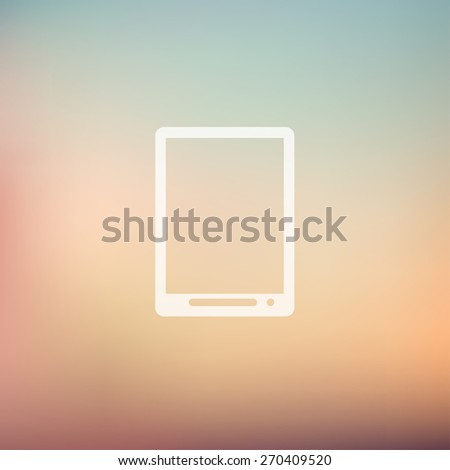 Modern tablet icon in flat style for web and mobile, modern minimalistic flat design. Vector white icon on gradient mesh background - stock vector