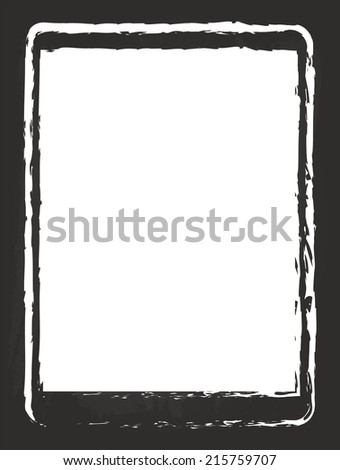 Modern Tablet Similar To iPad Air Drawing On Black Chalkboard