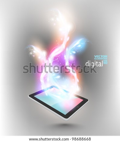 modern tablet with digital flare design