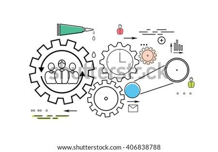 Modern teamwork concept on the white background - stock vector