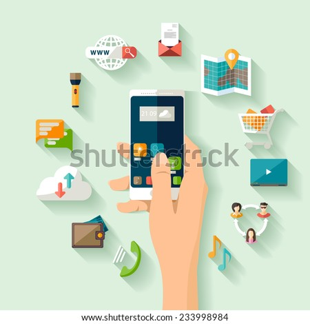 Modern technology concept. Flat design. - stock vector