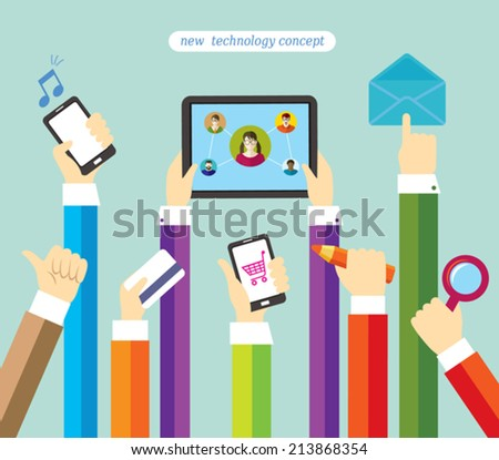 Modern technology. Online shopping and payment. Social network and education. Business. - stock vector