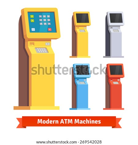 Modern teller ATM machine. Flat style vector illustration. - stock vector