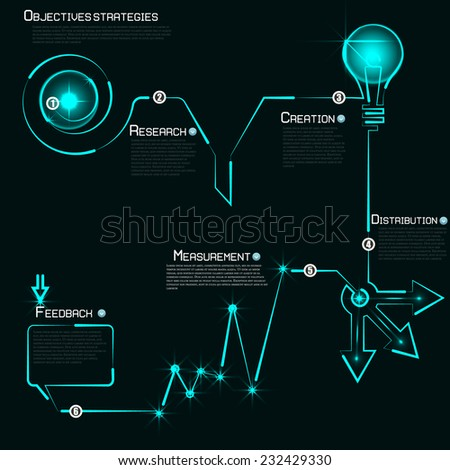 Modern template infographics process number of the luminous line. Vector. Can be used for web design and business planning process - stock vector