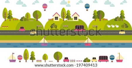 modern  template with flat eco landscape illustration